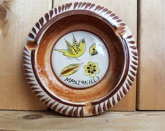 Vintage Manzanillo Cat Mexico Ashtray Bird Butterfly Flower Leaf Trip Souvenir Cigarette Smoking Break Gift Smoker Vacation Holiday Beach
