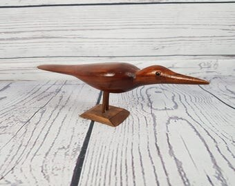 Vintage Small Bird Wood Hand Carved Statue Wildlife Figure Long Bird