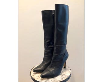 Ros Hommerson Vintage Sz 9 W Women's Black Leather Knee High Heel Boots