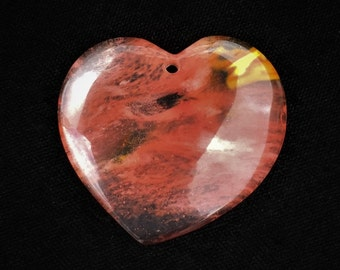 Fire Cherry Quartz Heart Volcano Quartz Translucent Pink Black Orange Clear Focal Pendant Bead