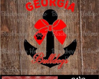 Georgia Bulldogs Anchor, Cut Files, SVG, Silhouette, DXF, Heat Transfer Projects