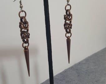 Byzantine Weave Chainmaille Spike Earrings