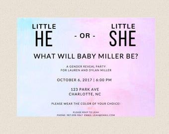 Gender Reveal Invitation, Little He or Little She, Printable or printed, DIY