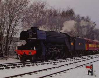Greetings Card - Train - Snow - Flying Scotsman - Blank Inside