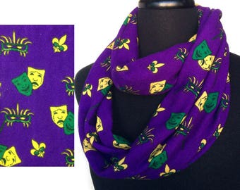 Mardi Gras Infinity Scarf, New Orleans small masks of feathers, ribbons,  Fleur de Lis, , neck warmer, finishes costume, parties, gifts