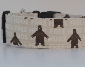 Free Hugs Teddy Bear Dog Collar