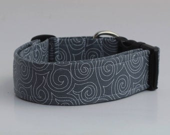 Swirls on Grey Dog Collar