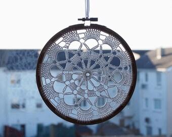Crochet Suncatcher Crochet Doily Windows Decor Doily Embroidery Hoop Crochet Decor Window Art Housewarming Gift