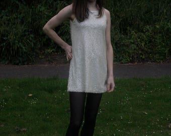 60's Style Sequin Dress/ Mini length/Size 10