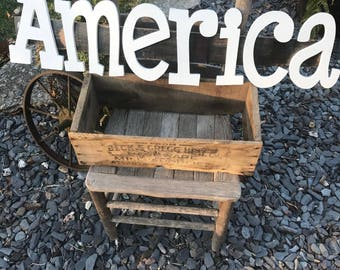 Rustic Whiskey Barrel Stave America Sign