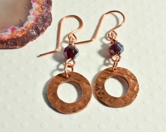 Copper Earrings with Red Bead Dangle