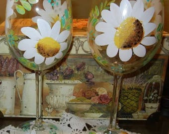 Set of Two-White Daisy Wine Glasses