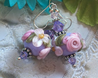 Lavender Lampwork Floral Earrings with Pale Pink Flowers, Lampwork Jewelry, .SRA Lampwork Earrings, SRA Lampwork Jewelry, Gift For Her