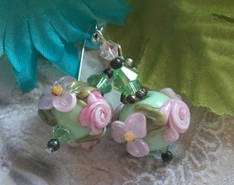 Mint Green Lampwork Floral Earrings with Pale Pink Flowers, Lampwork Jewelry, SRA Lampwork Jewelry, For Her