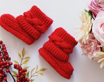 In Stock Now, Baby boots, Knitted baby booties,Baby boy or girl booties,Hand Knit Baby Booties