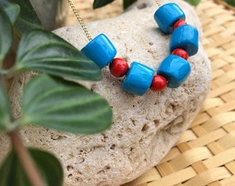 Blue and Red necklace
