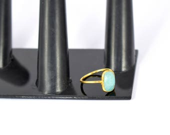 Amazonite ring , cushion ring , gold plating ring ,amazonite jewelry , adjustable ring , tiny ring ,green color ring,gemstone ring