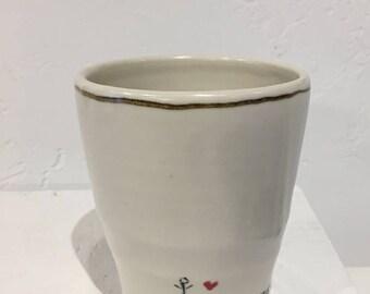 Love the Earth Tumbler, Ceramic Tumbler, Handmade Tumbler, Drinking Glass, Water Glass, Porcelain Tumbler, Handmade Glass, Wheelthrown Glass