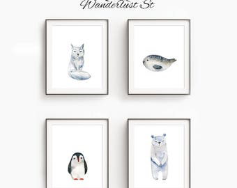 Nursery Animals, Printable Wall Art, DIGITAL DOWNLOAD, Watercolor Prints, Baby Room Wall Art, Playroom Decor, Animal Wall Art, Printable Set