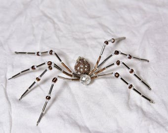Bronze and Crystal Beaded Spider