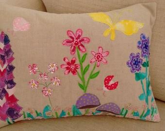 Linen Flower Garden Cushion