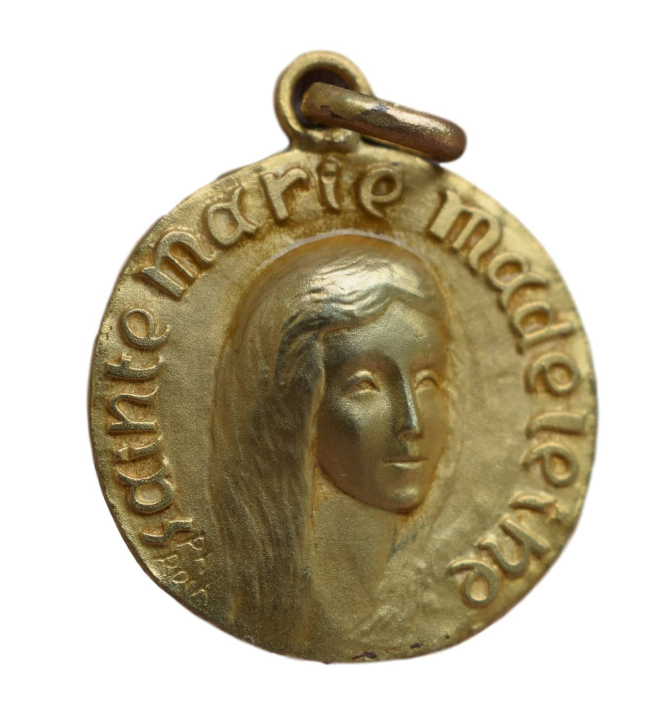 Saint mary magdalene medal french religious vintage gold medal saint mary magdalene medal french religious vintage gold medal pendant charm by jean philippe roch mozeypictures Choice Image