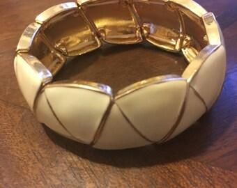 White/ Gold Women's Bangle Bracelet