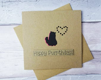 Persian Cat birthday card, Long-haired cat card, Furry cat card, Cat lover card, Card from the cat, Handmade Happy Birthday card, Kitty