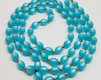 "Gorgeous Flapper Style Super Long (52""!!!) Necklace of Turquoise Colored Beads"