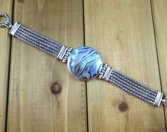 Vintage Abalone Shell Bracelet Toggle Clasp Sterling Silver 48 grams
