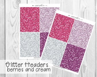 Glitter Headers - Berries and Cream by PaperPastelCo for use with the Erin Condren Vertical Life Planner™ and Classic Happy Planne