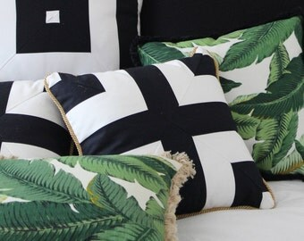 Modern Monochrome Black and White Geometric Bespoke Metallic Gold Piping Trim Cushion Cover - 35x35cm - Cover Only