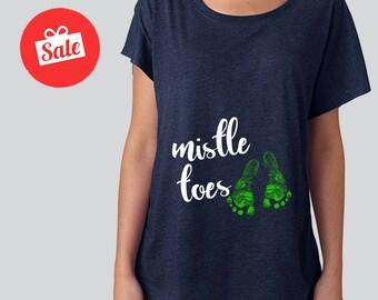 Mistletoes Maternity Slouchy Dolman Shirt. Off the Shouldert. Pregnancy Announcement Shirt. Christmas Shirt [M0242]