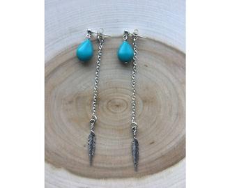 Silver Feather Drop Earrings, Bohemian Jewelry