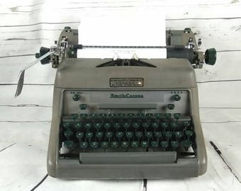 Working Vintage Gray Smith Corona Typewriter with Green Keys, MADE IN U.S.A.