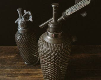 Pair of Antique Wire Metal MESH SODA SYPHONS Siphons Syphon Siphon