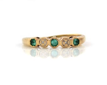 14K Emerald & Diamond Band - X4417