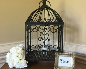Elegant black metal wedding card birdcage/Birdcage wedding card holder/Wedding centerpiece/Wedding decorations/Wedding card holder
