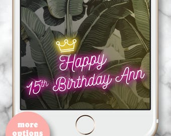 Crown Geofilter * Princess Snapchat filter Princess Birthday Party Quinceanera Snapchat Happy Birthday Neon Filter Royal Birthday Party Neon