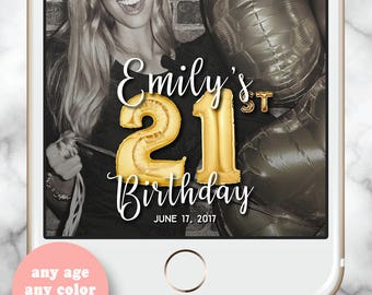 21 Balloons Geofilter * 21st Birthday for her Snapchat Filter Birthday Gold Balloons Birthday Filter 30 Rose Gold Balloons Snap Filter 30th