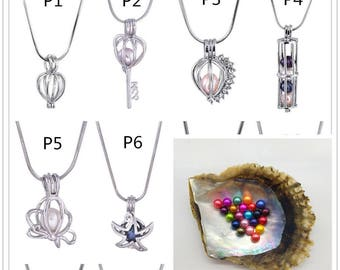 Cage Pendant + Round Akoya Pearl Oyster, Pearl Necklace, Pearl Pendant,Make Jewelries Yourself,HBCP-RO
