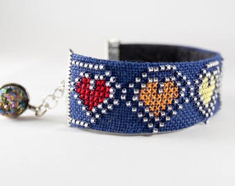 Hand Embroidered Cuff Bracelet - Pride