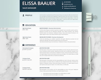 Modern Resume Templates | Professional Biodata format for Word & Pages; Resume + Cover Letter + Writing guide + icons | CV Instant Download