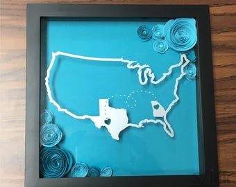 Custom Shadow Box for Any Two States in Any Color - Perfect for moving, long distance, or college gifts
