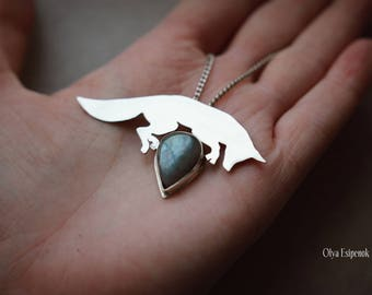Silver fox pendant Silver fox necklace Cute baby fox Fox jewelry Animal jewelry Animal inspired Forest animal jewelry Animal lover