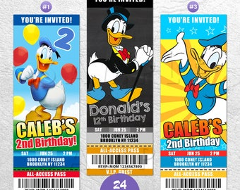 Donald Duck Invitation, Donald Duck Invites, Donald Duck Birthday Invitation, Donald Duck VIP Pass, Ticket Invitation, Digital or Printed