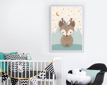 Woodland Nursery, Deer Print, Nursery wall art, Nursery animal, Woodland creature, Nursery decor, Forest Friends, Mint nursery, Deer, Giclee