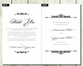 Formal Wedding Program - Customizable