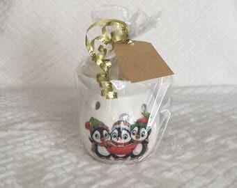 Wax burner gift set  oil burner gift set decoupage Christmas present teachers gift penguins carol singers