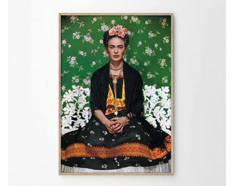 Frida Kahlo and Green Floral Background Art Print